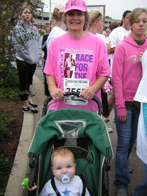 My son participates in his first Race for the Cure with my mom.
