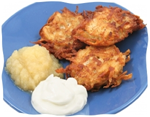 Latkes. Image courtesy of Chabad.org