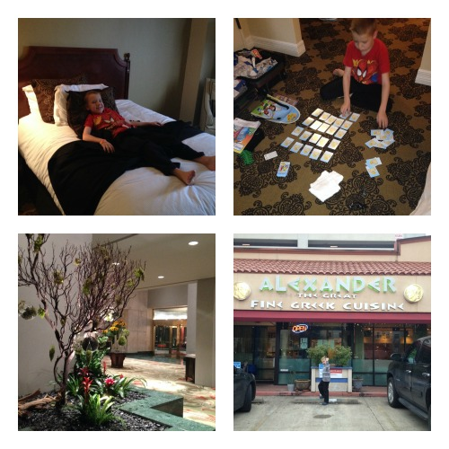Settling in at the Omni Houston Hotel. (Top left: bed fluffiness check; Top right: backpack contained a Memory-type game we are still playing, weeks later; Bottom left: lobby terrariums my kid confidently proclaimed were broccoli; Bottom right: our dinner spot, not far from the hotel).