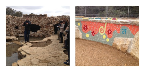 Getting a sneak peek of the Hill Country Grotto and Nature's Spiral, adorned with numbers from the Fibonaci Sequence.