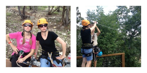 Don't mess with these ladies. Elizabeth during the scariest moment of the zip -- the moment you let go.