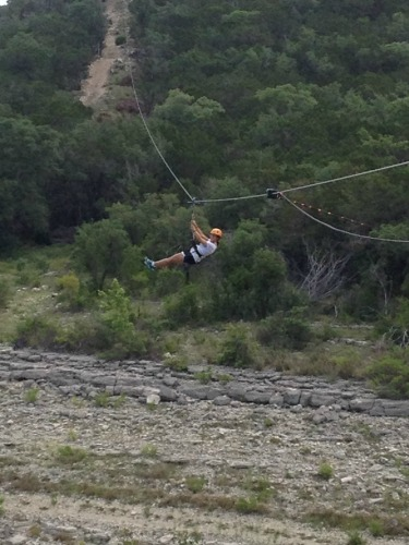 Midzip on the longest zipline. I may have screeched like a little girl. Not telling.