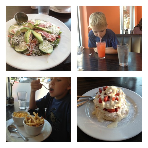 My yummy Asian seared tuna salad, sampling the seasonal strawberry lemonade, the mac and cheese and french fries and the grand finale: strawberry shortcake!