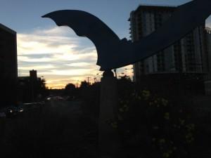 Bat Statue at dusk