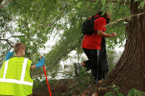 My son and I participating in a Little Helping Hands monthly Ladybird Lake Cleanup.