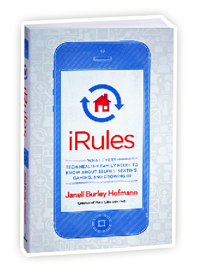 Janell is the author of iRules: What Every Tech Healthy Family Needs to Know About Selfies, Sexting, Gaming and Growing Up