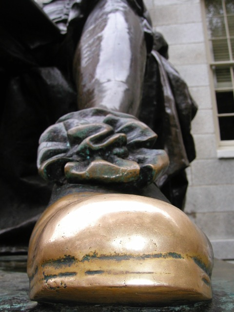 Rubbing John Harvard's toe