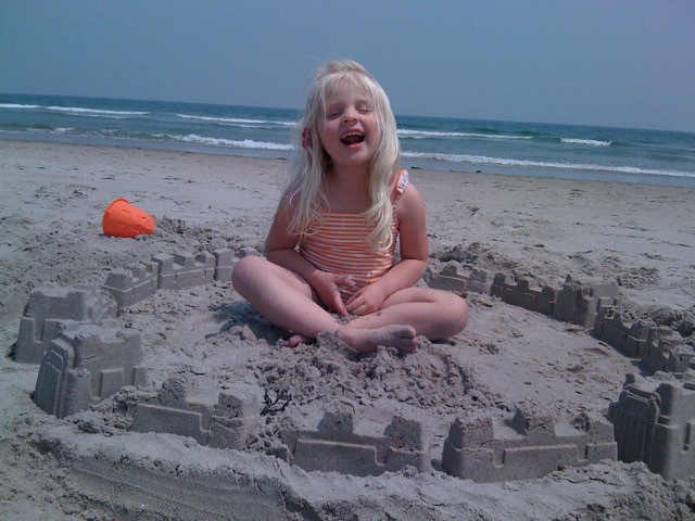 Building sand castles on Ogunquit Beach