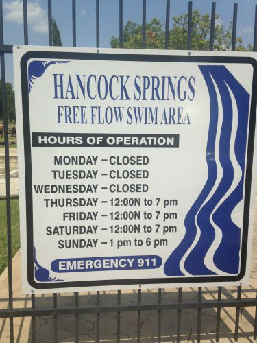 2015 Hancock Springs hours.