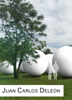 Juan Deleon's work, Omission, will be the centerpiece of the TEMPO kick-off. Omission is made up of up to 20 ten-foot, inflatable spheres. Photo from the Arts in Public Places website.