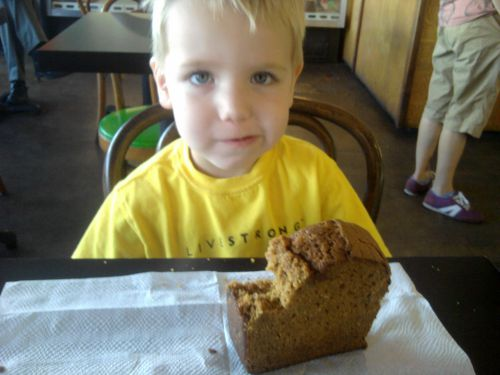 When my son was in preschool, Quack's was my go-to place when he was a little under the weather. Here he is, feeling that much better after some pumpkin bread in 2010.