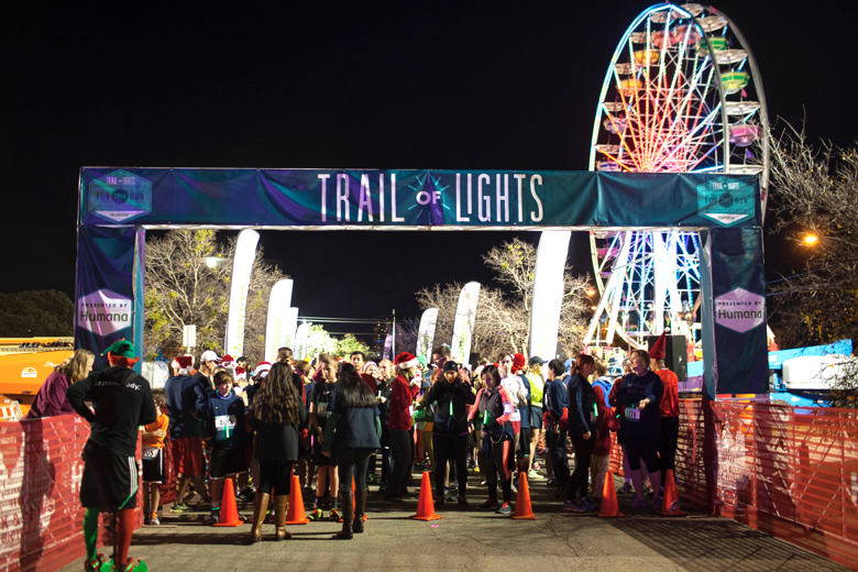 trail of lights starting line