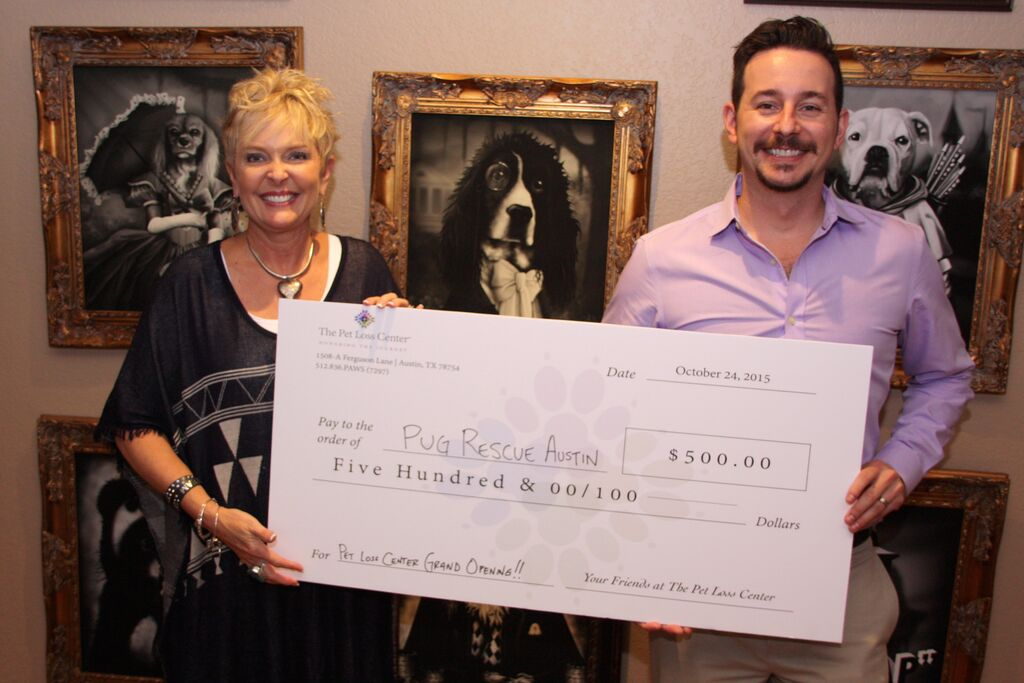 Coleen Ellis and Nick Padlo, co-founders of The Pet Loss Center, at the grand opening in September 2015. The Pet Loss Center made a donation to Pug Rescue Austin in honor of the grand opening.