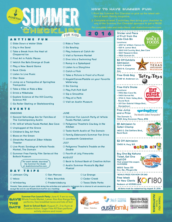 2016 Summer Fun Checklist for Kids