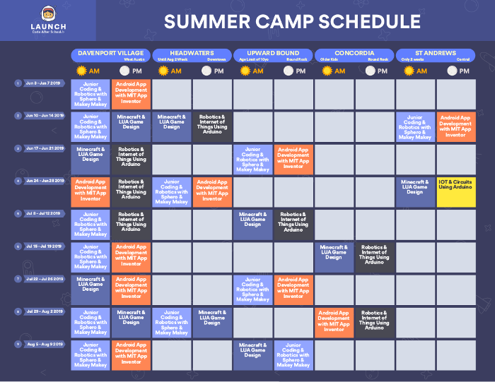 Launch Code After School Summer Camp Calendar