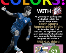 Event: Austin Aztex Youth Sports Appreciation Night, 9/5